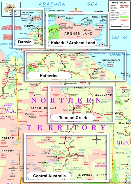 NT Organised Tours Map